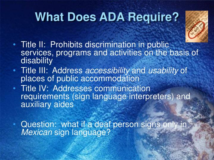 What Does ADA Require?