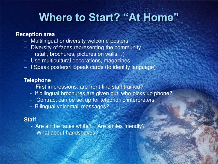"""Where to Start? """"At Home"""""""