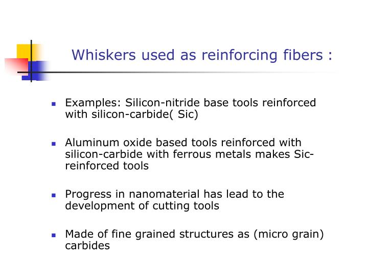 Whiskers used as reinforcing fibers