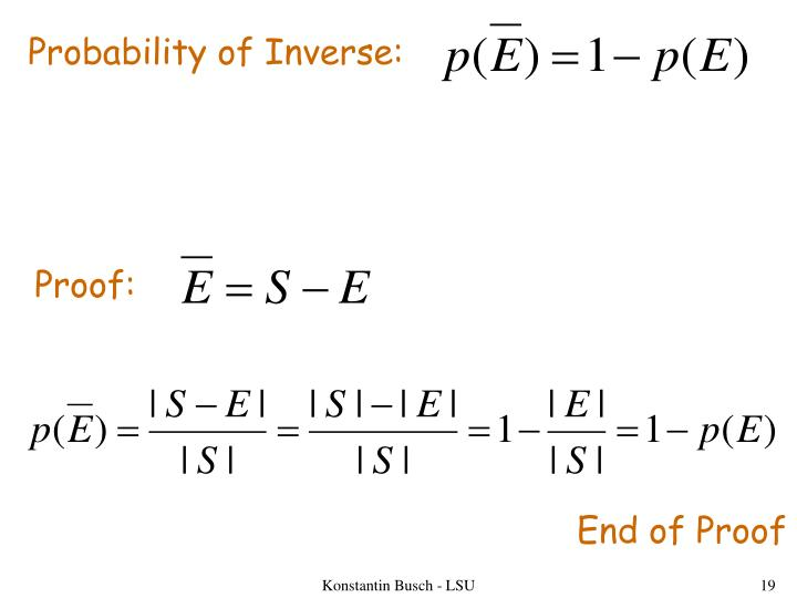 Probability of Inverse: