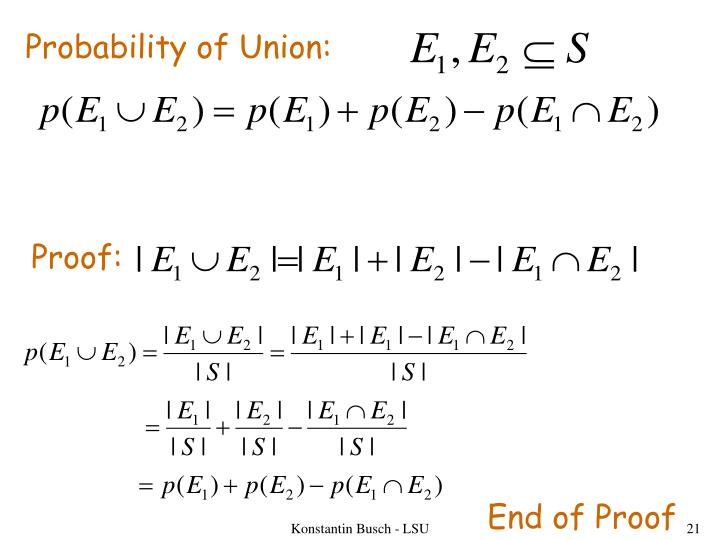 Probability of Union: