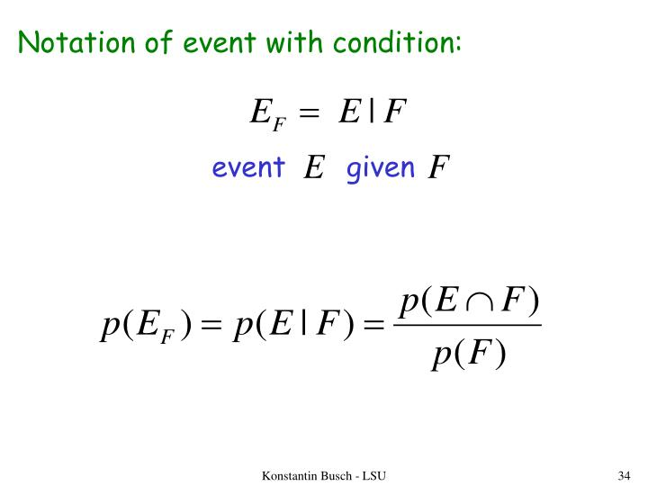Notation of event with condition: