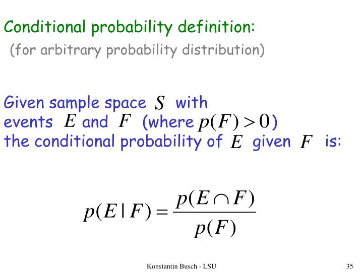 Conditional probability definition: