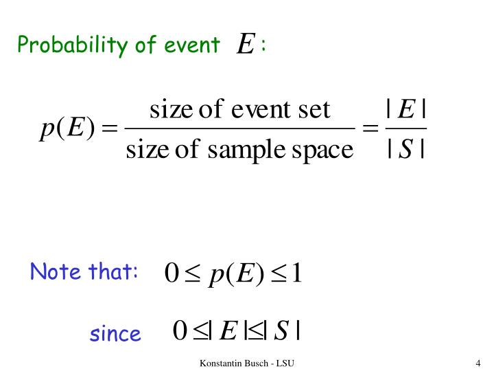 Probability of event      :