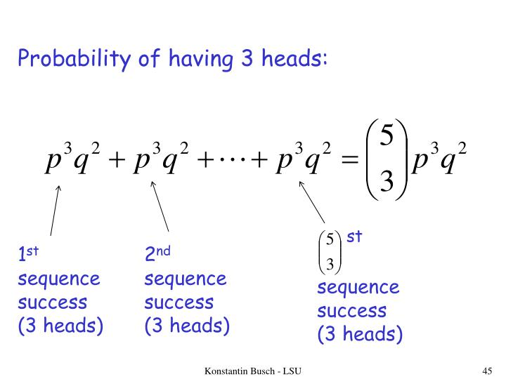Probability of having 3 heads:
