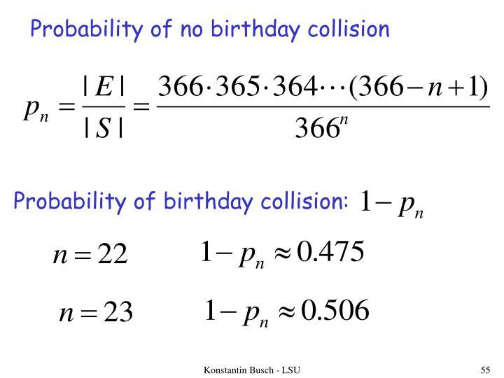 Probability of no birthday collision