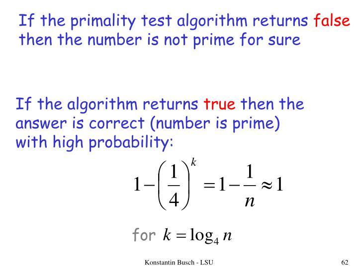 If the primality test algorithm returns