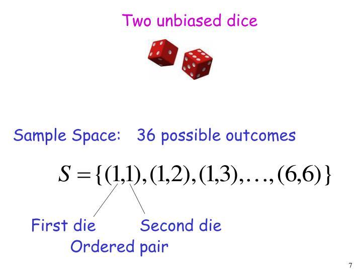 Two unbiased dice