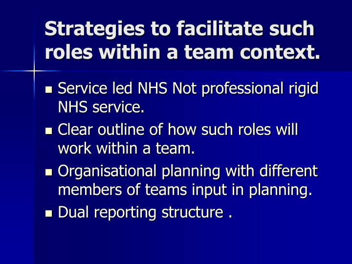 Strategies to facilitate such roles within a team context.