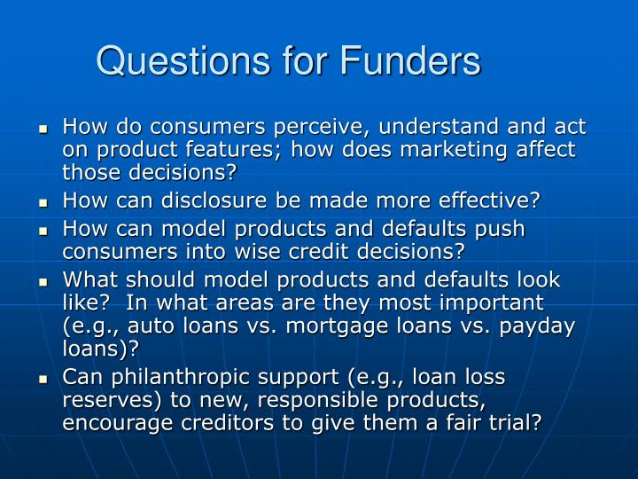 Questions for Funders