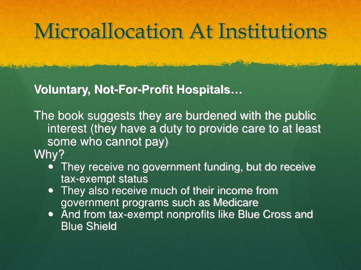 Microallocation At Institutions