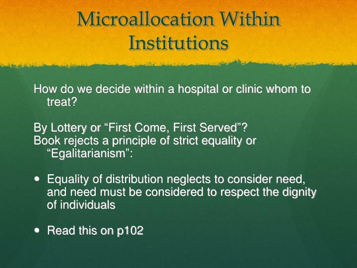 Microallocation Within Institutions
