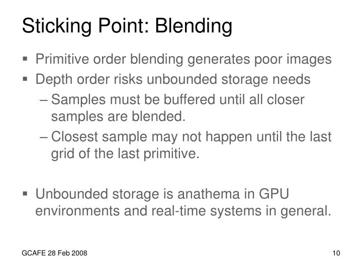Sticking Point: Blending