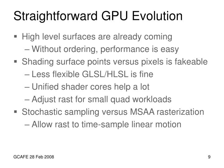 Straightforward GPU Evolution