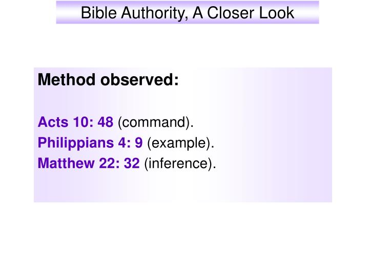 Bible authority a closer look