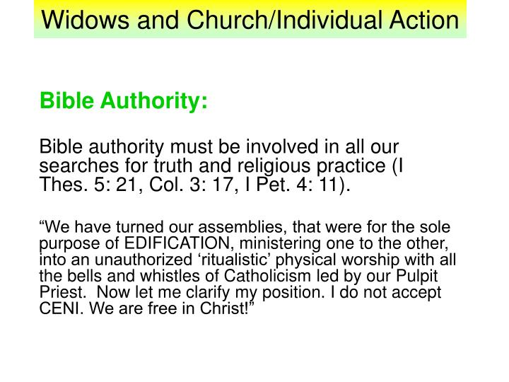 Widows and church individual action1