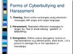 forms of cyberbullying and harassment