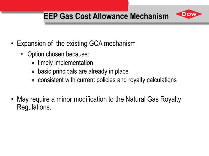 EEP Gas Cost Allowance Mechanism