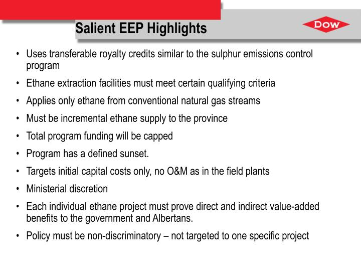 Salient EEP Highlights