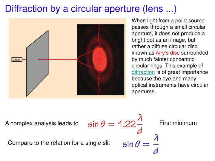 Diffraction by a circular aperture (lens ...)