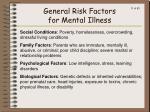 general risk factors for mental illness