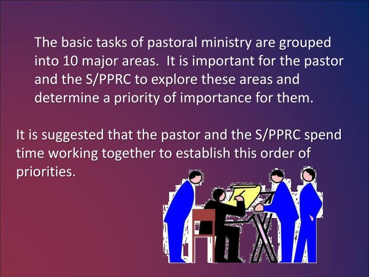 The basic tasks of pastoral ministry are grouped