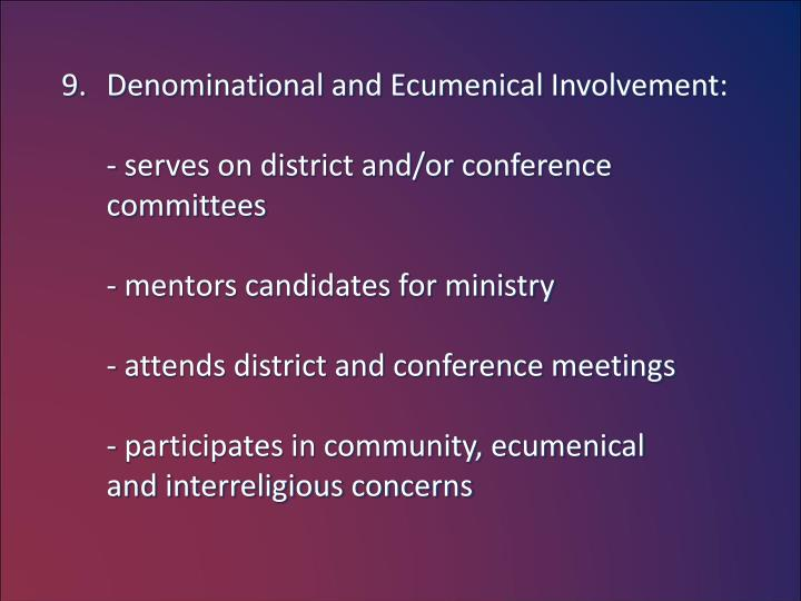 Denominational and Ecumenical Involvement: