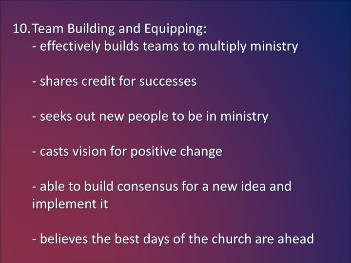 Team Building and Equipping: