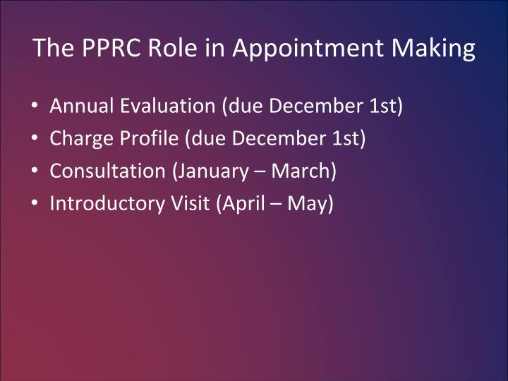 The PPRC Role in Appointment Making