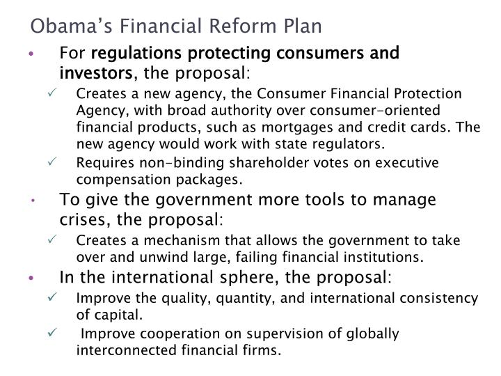 Obama's Financial Reform Plan