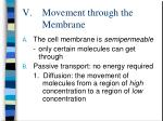 movement through the membrane