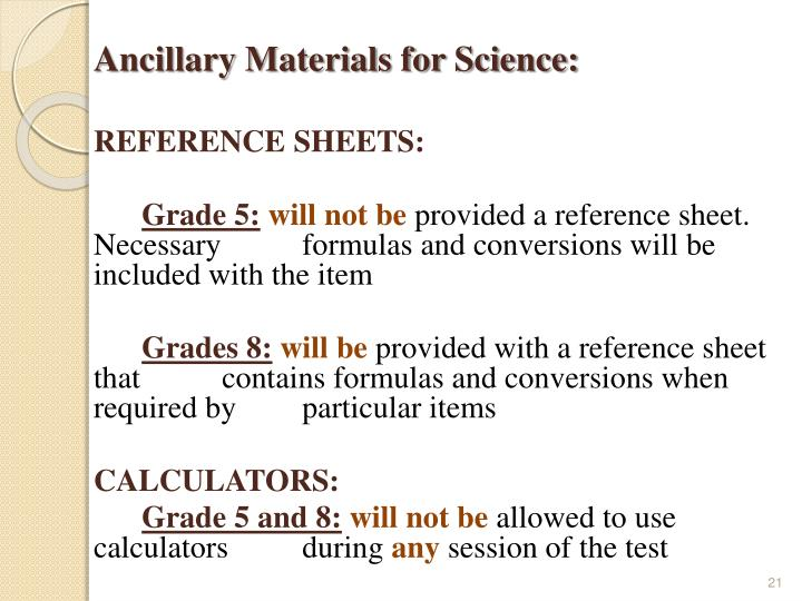 Ancillary Materials for Science: