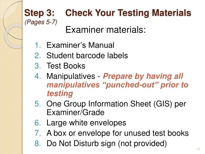 Step 3:Check Your Testing Materials