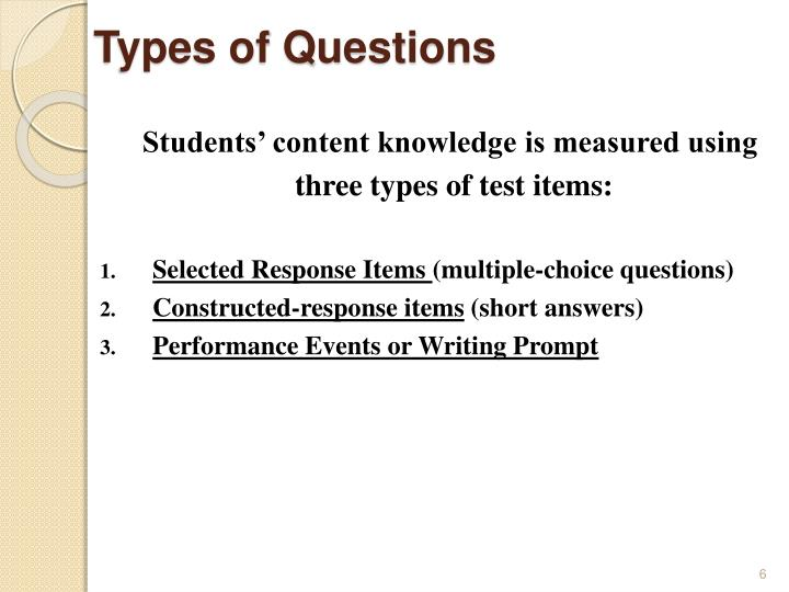Types of Questions