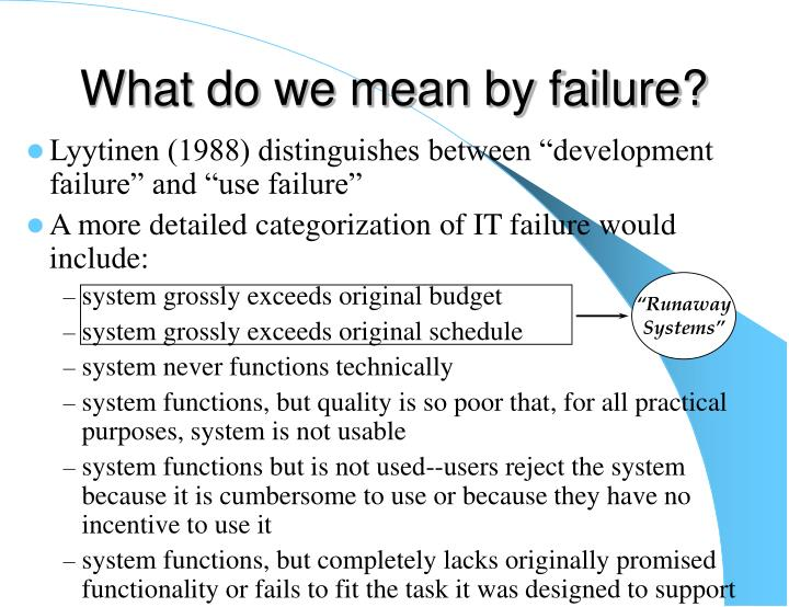 What do we mean by failure