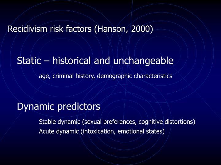 Recidivism risk factors (Hanson, 2000)
