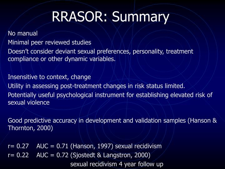 RRASOR: Summary