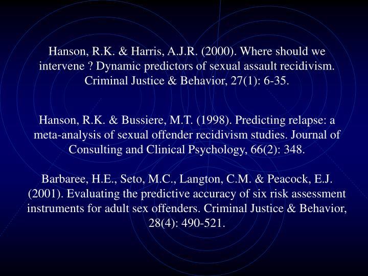 Hanson, R.K. & Harris, A.J.R. (2000). Where should we intervene ? Dynamic predictors of sexual assault recidivism. Criminal Justice & Behavior, 27(1): 6-35.