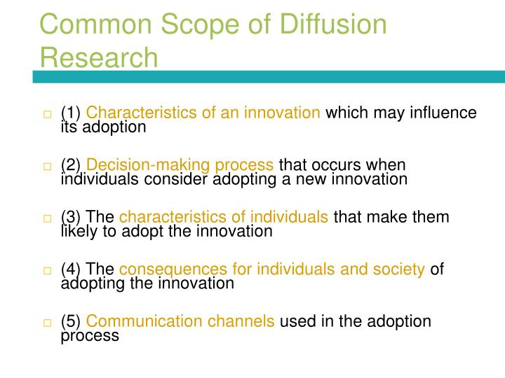 Common Scope of Diffusion Research