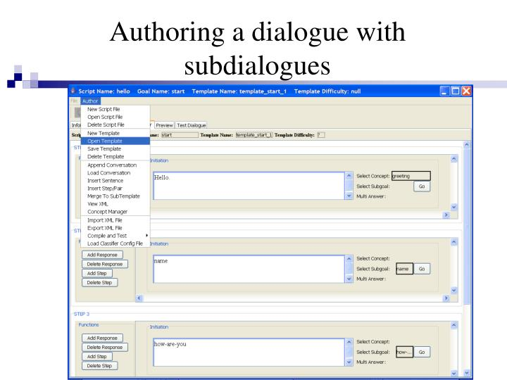 Authoring a dialogue with subdialogues