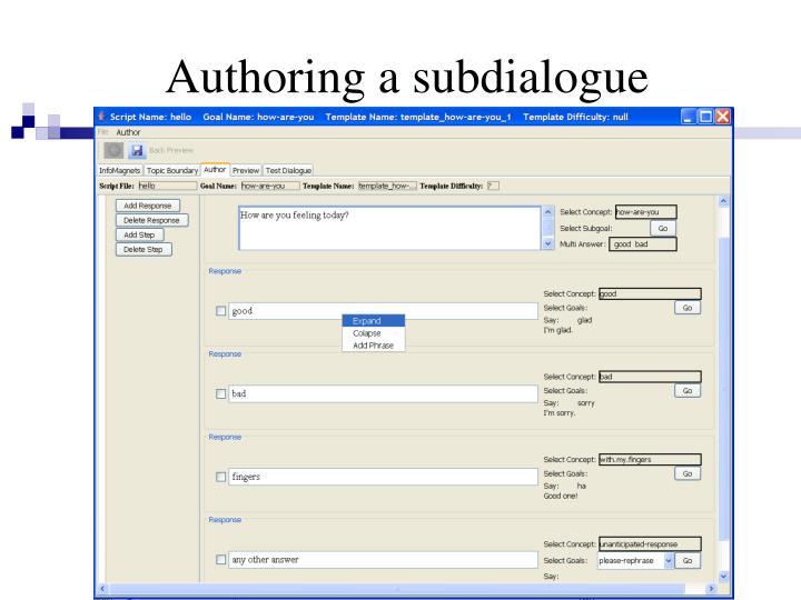 Authoring a subdialogue
