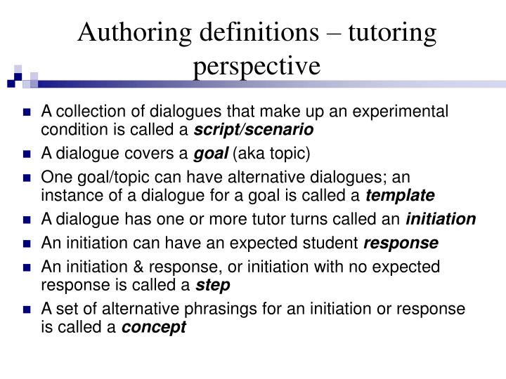Authoring definitions – tutoring perspective