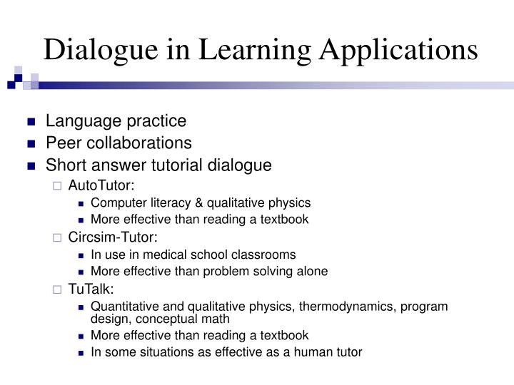Dialogue in learning applications