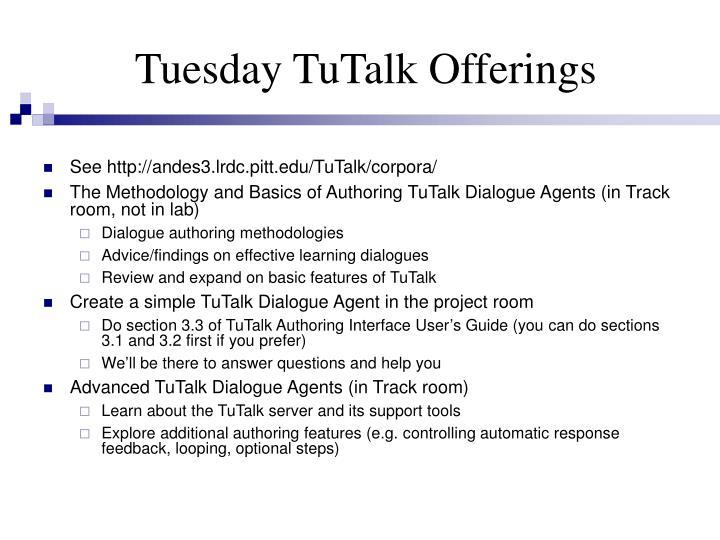 Tuesday TuTalk Offerings