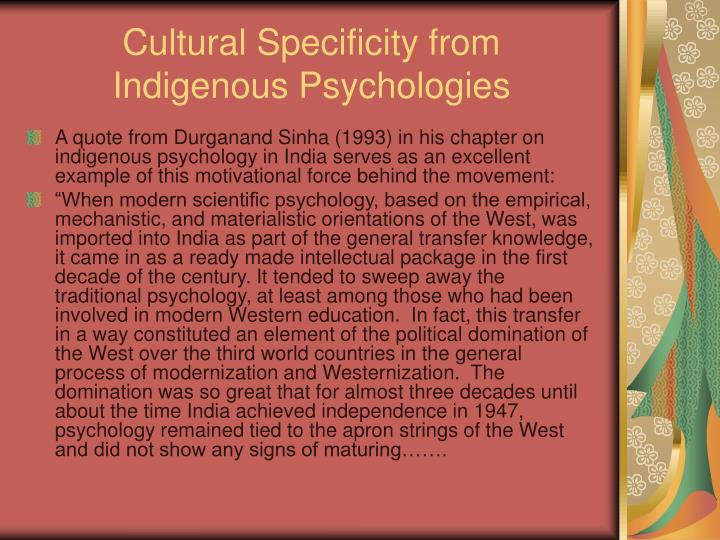 Cultural Specificity from