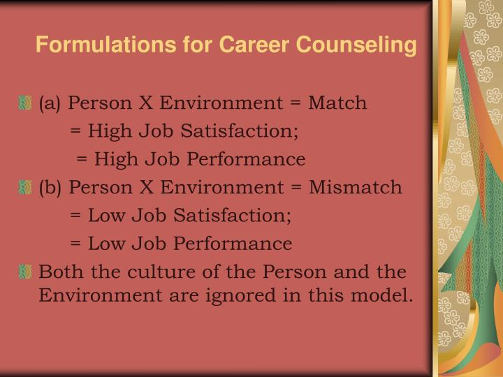 Formulations for Career Counseling