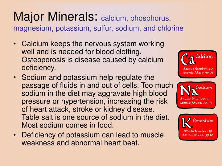 Major Minerals: