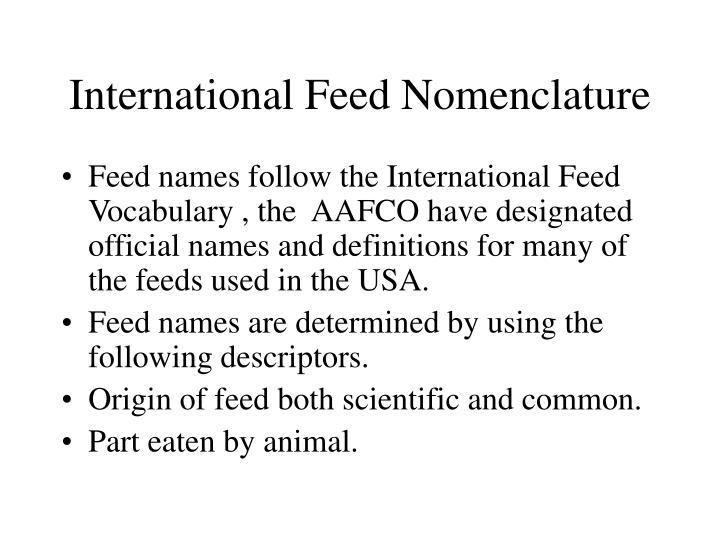 International feed nomenclature