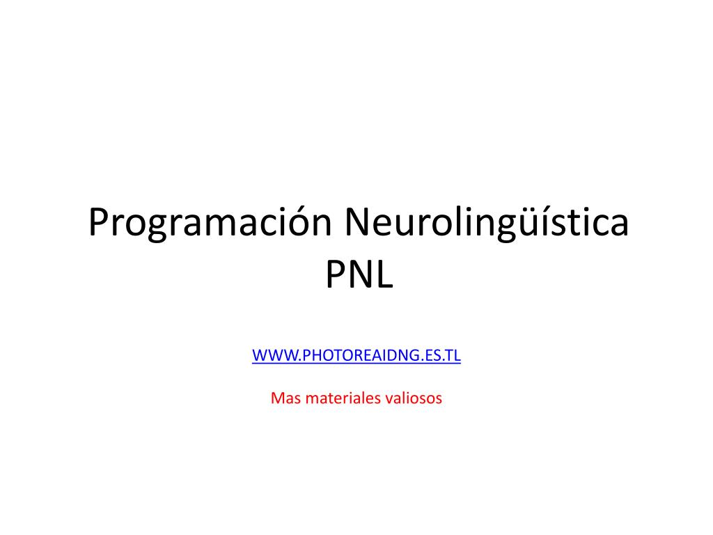 programaci n neuroling stica pnl l.