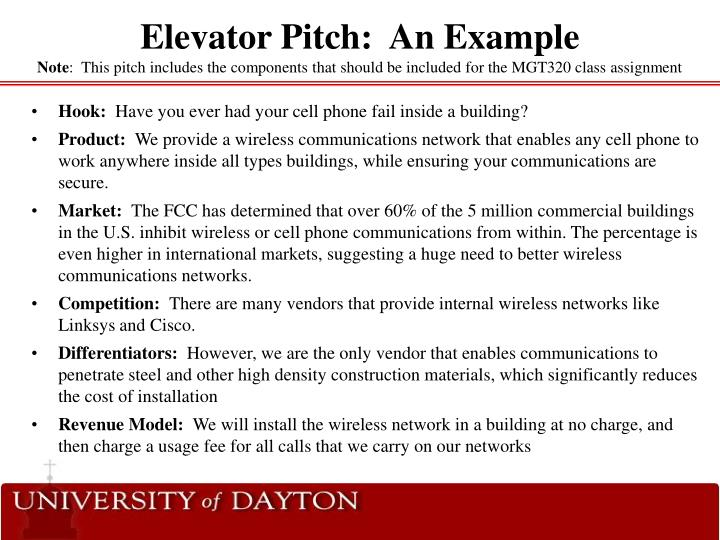 Elevator Pitch:  An Example
